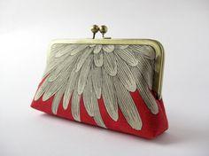 Chrysanthemum petals silk lined clutch purse Bag Noir by BagNoir