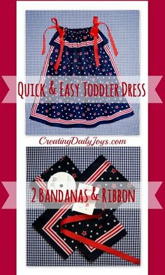 Bandana Dress for a Toddler - Creating Daily Joys Baby Sewing Projects, Sewing For Kids, Sewing Tutorials, Sewing Patterns, Dress Patterns, Sewing Ideas, Toddler Dress, Toddler Outfits, Kids Outfits