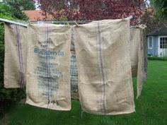 . Clothes Pegs, Clothes Line, Feed Sacks, My Favorite Color, Burlap, Laundry, Blue And White, Linens, Beautiful