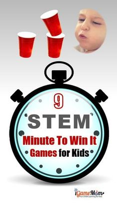 STEM Challenge Minute to Win It Party Games Kids Love. Fun ideas for classroom party or family holiday gatherings and birthday party. All with little prep needed, and easy-to-get materials, and detailed instructions even class notes for kids. #STEMforKids #iGameMomSTEM #STEM #Activities