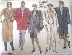 Vogue 1446 Womens Coat Sewing Pattern Uncut 1980s by Denisecraft, $6.99