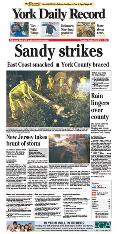 York Daily Record front page Oct. 30