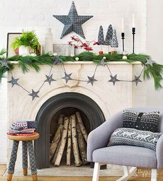 Old sweaters add welcome texture and warmth to your holiday decorating. To make the star: Place a pretty section from a sweater over a cardboard star form (available from crafts stores) and cut, leaving 1 inch excess all around. Starting at the center and working out, hot-glue to secure. Glue edges under the form. To make the garland: Cut star shapes from sweater fabric using our free downloadable template. Adhere heavy iron-on fusible interfacing to the backs of the stars; trim. Hot-glue a…