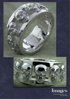 Our Custom Silver Skull Mens Ring #imagesjewelers #customjewelry #mensring #weddingring #skullring #skeletonring