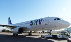 SKY deja atrás las palmeras de su cola y recibe el primer avión con su nueva imagen corporativa