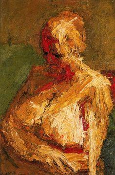 Half-Length Nude, 1958 - by Frank Auerbach Germany/UK Frank Auerbach, Figure Painting, Painting & Drawing, Painting Prints, Leon Kossoff, Modernist Movement, Portrait Art, Portraits, Abstract Portrait