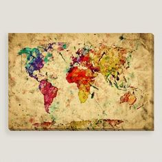 This vintage-style world map was created in vivid watercolor on grunge paper. Printed with state-of-the-art archival inks on museum-quality canvas, this affordable artwork is a timeless update for any room.