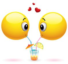 Emoticons Sharing a Drink