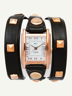 Punctuality gets pretty with this extra-long, #wraparound #leatherwatch with rose gold stud details. #LaMer #darkknight