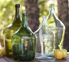 Shop recycled glass bottle vases from Pottery Barn. Our furniture, home decor and accessories collections feature recycled glass bottle vases in quality materials and classic styles. Wine Bottle Vases, Bottles And Jars, Glass Bottles, Empty Bottles, Vintage Wine, Vintage Bottles, Decorative Objects, Decorative Accessories, Decorative Accents