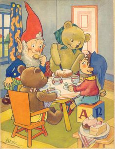Beek / Tea with Mrs Tubby Bear ... Noddy, Big Ears, teddy bears at tea table in illustration from Enid Blyton's children's Noddy book series, c. 1950s, UK