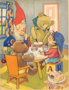 Beek / Tea with Mrs Tubby Bear ... Noddy, Big Ears, teddy bears at tea table in illustration from Enid Blyton's children's Noddy book series, c. 1950s, UK