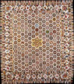 Quilt 19th c English, crewel embroidery