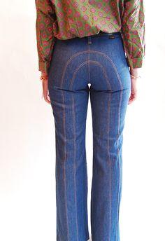 3d532b8e Vintage 1970s High Waist Jeans - 70s Bell Bottom Jeans - Wrangler Jeans NO  MONOBUTT.