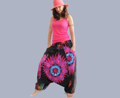 Boho Harem Pants women – Women's Aladdin Trousers Afghani Pants – Alibaba Pants – Cotton Denim Boho, Bohemian Pants, Burning Man, Black Harem Pants, Aladdin Pants, Boho Romper, Drop Crotch Pants, Denim Cotton, Sleeveless Jacket