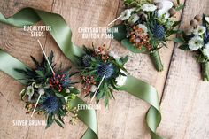 White and green hued boutonniere | Floral Bouquet Recipes by Colour
