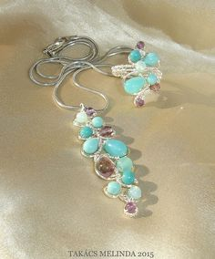 turquoise blue - amethist purple wire wrapped ring and necklace