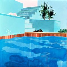 David Hockney, Pool and Steps When I think of Los Angeles, I think of David Hockney paintings. David Hockney Pool, Hockney Swimming Pool, David Hockney Art, David Hockney Paintings, Swimming Pools, Art Installation, Pop Art, Pool Paint, Art Du Monde