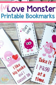 These love monster printable bookmarks are perfect to use during the Valentine's Day season! They are funny and cute, perfect for young readers. Easy Valentine Crafts, Diy Valentines Cards, Valentine Activities, Valentines For Boys, Activities For Kids, Classroom Activities, Classroom Ideas, Monster Bookmark, Free Printable Bookmarks
