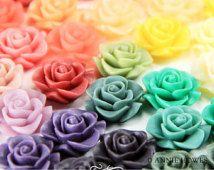 10 шт Смола розы цветы с Плоские спинах 21 мм в различных цветах.  10 шт.  AH21RFROSE