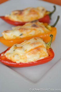 Fiesta Stuffed Mini Peppers-5 12-18 Sweet Mini Peppers (halved and seeded) 8 oz package of Cream Cheese (softened) 8 oz shredded cheddar /Monterrey jack 1 tbsp lime juice & cilantro ½ tsp garlic salt 350 degrees for 20 minutes.