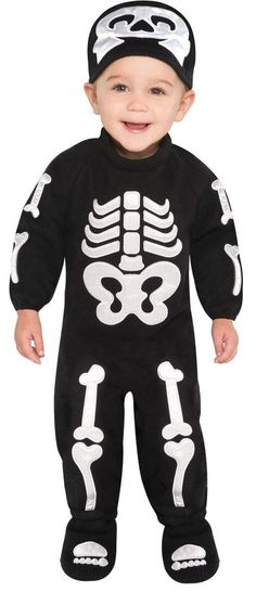 49ed83c8deb Amscan Baby Halloween Bitty Bones Skeleton Jumpsuit Boys Fancy Dress Costume  for sale online