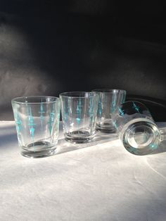Blue old fashioned rocks glasses, perfect addition to any bar. Also makes a great friend, hostess, man cave gift idea
