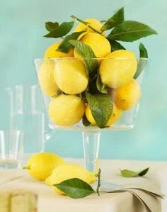 Nice Spring and Summer Party Centerpiece. Lemons with your water anyone :) ? Back to School party idea with DIY decor ideas. Lime Centerpiece, Summer Party Centerpieces, Lemon Centerpieces, Centerpiece Ideas, Lemon Centerpiece Wedding, Cylinder Centerpieces, Kitchen Centerpiece, Spring Decorations, Cocktails Bar