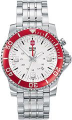 The Swiss Army 24141 Mens Watch from the Maverick Collection,  the red bezel really makes this model POP!