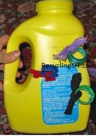 Sensory pull activity made from detergent bottle.