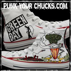 794af3105e4cd3 Green Day Dookie Custom Converse Sneakers hand painted by celebrity artist  MAG from punkyourchucks.com