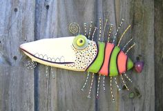 Mergin' Sturgeon, Original Found Object Sculpture, Wall Art, Wood Carving, Wall Decor, Fish Sculpture, by Fig Jam Studio