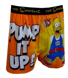 Homer Simpson Pump It Up Boxer Shorts, $13.50  Hilarious as usual, these boxer shorts feature an overconfident Homer Simpson ready for a workout with the phrase 'Pump It Up'. Using his favorite Duff Beer cans as weights, Homer is ready to go! The perfect gift for the hard to buy for man! Open fly, exposed elastic waist.