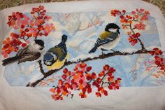 Information about pattern: Stitches: 101 W x 115 H Floss: DMC colors) Size: x cm/ x inch count) x cm/ x inch count) Embroidery hoop: Fits a 9 inch embroidery hoop (if stitched on 14 count Aida) Skill level : Easy Types of Cross Stitch Fabric, Cross Stitch Bird, Cross Stitching, Cross Stitch Embroidery, Types Of Stitches, Modern Cross Stitch Patterns, Stitching Patterns, Dmc Floss, Winter