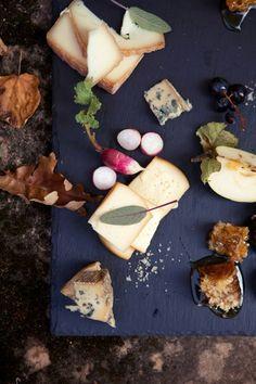Cheese slate board with radish