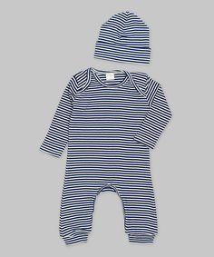 Look at this #zulilyfind! Ruff Truff Blue & Ivory Stripe Playsuit & Beanie - Infant by Ruff Truff #zulilyfinds