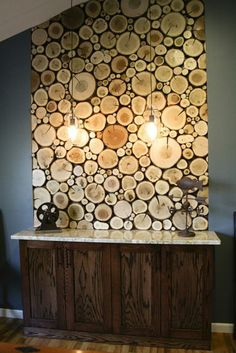 20 Charming DIY Log Ideas Take Rustic Decor To Your Home If you are DIY lovers, you will definitely love these DIY Log ideas. We found really interesting ideas how to make things out of logs. Rustic Wood, Rustic Decor, Log Decor, Kitchen Wall Panels, Log Wall, Diy Holz, Wood Slices, Wood Wall Art, Wood Walls