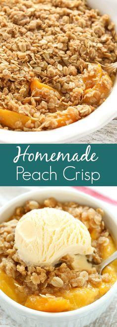 An easy Peach Crisp made with fresh juicy peaches and a delicious crispy topping. The post An easy Peach Crisp made with fresh juicy peaches and a delicious crispy toppin appeared first on Dessert Park. Peach Cobbler Crisp, Fresh Peach Crisp, Peach Crumble, Healthy Peach Crisp, Peach Oatmeal Crisp, Healthy Peach Cobbler, Peach Cobbler Recipe With Oatmeal Topping, Easy Peach Crisp Recipe With Fresh Peaches, Fresh Peach Cobbler Recipe Easy