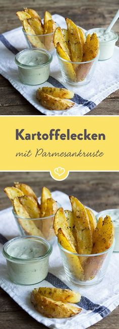 Kartoffelecken im Knoblauch-Parmesan-Mantel Cut open potatoes, a few herbs, a little parmesan and the rest is done in the oven. The uncomplicated, really tasty finger food is ready! Tapas, Good Food, Yummy Food, Easy Smoothie Recipes, Snacks Für Party, Finger Foods, Food Inspiration, Healthy Snacks, Food Porn