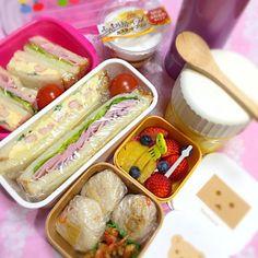 いよいよセンター試験当日ฺ(☼Д☼) 過去の経験から、センター試験の日のお弁当は小さめのお弁当箱で、小分けして持たせることに。 前日、娘と相談して、娘の好物タマゴサンドイッチとハムサンドイッチに決定( ´ ▽ ` )ノ 美味しいと評判のパン屋さんで山食パンを薄切りにしてもらって買ってきたんです。先ずはカリッとトーストして、フィリングを挟み、片手で食べ易いように細長くカット。 フルーツも別容器に入れました。 いつもの温かいcafé au laitもね。  今日はいつもより朝早く家を出るので、 朝食には筍御飯のひと口おむすび&ペットボトルのお茶。 保温容器には熱々ポタージュ。 おやつにはクリームプ - 26件のもぐもぐ - センター試験仕様☆サンドイッチ♪おむすび☆小分け弁当( ´ ▽ ` )ノ by Blueberry