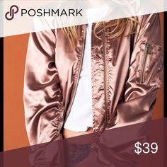 Rose Gold Bomber Jacket Satin rose gold bomber jacket featuring antique gold zipper and flap pockets. Jackets & Coats