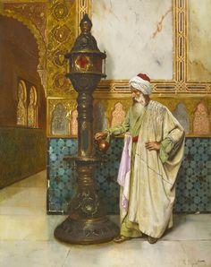 Rudolf Ernst (1854-1932) L'allumeur de lampe Huile sur panneau signé en bas à droite 61 x 48 cm  - Galerie Ary Jan