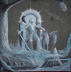 Odin (Asgard). The highest northern god, alias Forefather (Alfödr). Odin was the creator of the world and father of all gods. He is depicted on his throne (Hlidskjalf), with a helmet (Hjalmberi), spear (Gungni), his two wolves (Geri & Freki) and crows (Hugin & Munin), under a tree of the world (ash Yggdrasil). He is Lord of the castle Valhalla in Asgard.  Asgard is one of nine worlds in northern cosmogony, that is of home of gods, above Midgard (world of people).