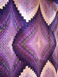 Longarm quilted king size bargello - hand-guided Bargello Quilt Patterns, Bargello Quilts, Quilt Patterns Free, Quilting Templates, Quilting Designs, Textile Fiber Art, Barn Quilts, Free Motion Quilting, Vintage Quilts