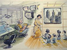 "architect and teacher Atari.jpg Glen Keane renders the scenarios, future of the ""intelligent encyclopedia"" 1981. An architect in New York studies Japanese motif for a project he's working on, while a teacher in Toyo talks with her class about western architectural styles."
