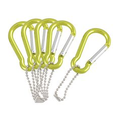 5 Pieces Aluminum Spring Loaded Gate Green Carabiner Hook Key Chain - adult pinata stuffers?