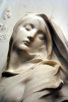 #sculptural #white #stone #woman #figurative #classical style #veil