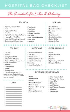 FREE Printable Labor & Delivery Hospital Bag Checklist. What should I pack for labor, delivery, baby and postpartum? Practical items to pack in your hospital bag - labor & delivery items you'll need & will actually use! Here is a FREE Printable Hospital Bag Packing List Checklist #hospitalbagchecklist #hospitalbackpackinglist #packingforlabor #hospitalbag