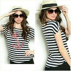 Jill Marie Boutique Tops - Short sleeve striped nautical anchor top
