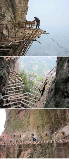 World's scariest job? Meet the workers building a 3ft-wide wooden road on a vertical cliff face...